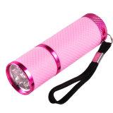 9 linterna ULTRAVIOLETA ultravioleta de la antorcha del LED 395nm del clavo de la lámpara profesional ligera púrpura del secador