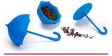 Mini tamis de thé de silicones de forme de parapluie avec le couvercle
