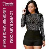 Longue chemise de femmes de chemises de mode noire (L467-1)