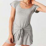 La robe ronde occasionnelle de cou de soirée de douille de short de T-shirt de Knit de Laidies de Attacher-Meurent la taille