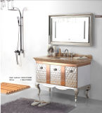 Argento su Floor Modern Mirrored Stainless Steel Bathroom Cabinet Golden (JN-88935)