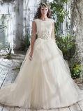 Vestido de casamento 0060 modesto fora do vestido curto branco da noiva do trem da corte da luva