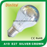 Luz de prata Incandescent da coroa A19