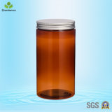 1000ml Pet Dark Brown Plastic Cream Jars with Silver Screw Cap for Tea Packing