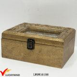 Contenitore di monili della cassa di legno Champaign antica dell'oro dell'annata piccolo