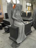 中国の花こう岩の天使の記念物のベンチ