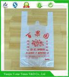 Bolso plástico de la camiseta de Hanlde del chaleco del alto de Denstiy embalaje de las compras