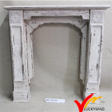 Antique French Country Farmhouse Mantel decorativo de lareira de madeira independente