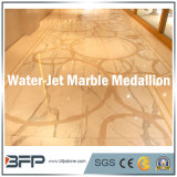 Water-Jet에 의하여 자연적인 돌 베이지색 대리석 석판 또는 도와 또는 단계 또는 선형 또는 모자이크 또는 큰 메달