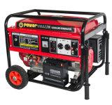 6000Wはハンドルおよび車輪が付いているタイプGensetの銅線220Vガソリン発電機15HPを開く