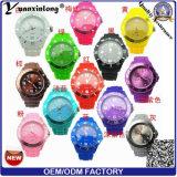 Relógio de pulso plástico quente da moldura da borracha de silicone do relógio de quartzo de Japão Movt da venda Yxl-823