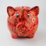 Nuevo de la fábrica cerdo de cerámica de encargo directo con la etiqueta euro