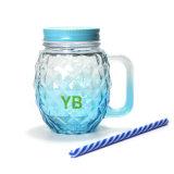 Tasse potable en verre de choc de diverse de couleur forme d'ananas avec le couvercle et le traitement