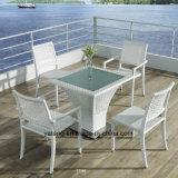 A tabela de jantar ao ar livre da mobília do Rattan do jardim da alta qualidade ajustou-se com as cadeiras Stackable com a tabela de Armrests&Kd pela base dos &Ss de Alumínio Frame