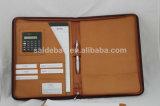 Portefeuille d'organisateur de cuir de modèle de tirette d'approvisionnement d'affaires de bureau avec la calculatrice