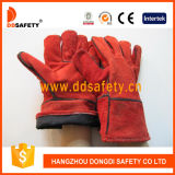 De volledige Handschoen Dlw605 van het Lassen van de Koe van de Voering Rode Gespleten