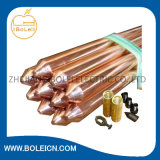 """Rod au sol métallisé de cuivre 1.2m x 3/4 """" avec le coupleur fileté"""