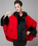 Lady Fashion Hooded Acrílico Knitted Faux Fur Winter Shawl (YKY4474)