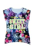 Print Sgt-075のChildren Clothes Apparelの花Cap Girl T-Shirt