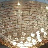 Lampadario a bracci moderno su ordinazione del tubo LED dell'acciaio e della sfera di cristallo alla stanza di funzione