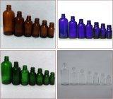 Rundes Glasbernsteinfarbiges, blau, Hreen, freie Tropfenzähler-Flasche, wesentliches Öl-Flasche