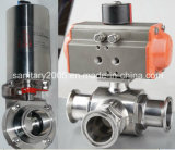 Pneumatic sanitario 3 Way Ball Valve con 3piece Valve Body