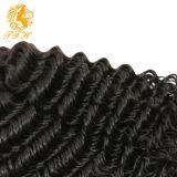 Color natural de la onda profunda del pelo humano de la Virgen del brasilen@o del 100%