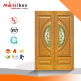 Porte d'entrée principale en bois solide de voûte de dessus de porte