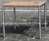 Mesa de madeira de teca quadrada de aço redonda de aço inoxidável