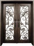 側光が付いている円形上のMordenデザイン錬鉄の複式記入のドア