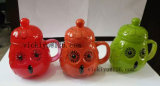vaso di vetro del girasole arancione 300ml per la bevanda con il coperchio