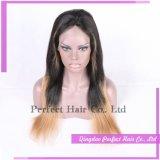 Longue perruque de lacet du cheveu deux de son de couleur européenne d'Ombre
