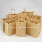 Bon marché en gros réutilisent des sacs de transporteur de cadeau de papier de Brown emballage avec le traitement Twisted