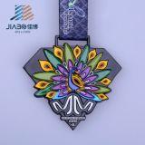 Тесемка медали павлина эмали подарка промотирования высокого качества изготовленный на заказ мягкая с коробкой