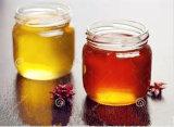 Tarro de cristal de la miel del tarro del pequeño 375ml 500g atasco plano redondo de la categoría alimenticia con la tapa