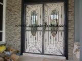 正方形の上の新しいデザイン錬鉄の複式記入のドア