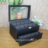 Caixa de relógio de madeira de couro luxuosa do plutônio