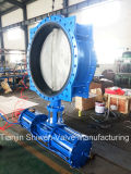 Pneumatic Actuated Doubles Flanged Butterfly Valve with CF8 Disc