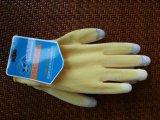 El trazador de líneas amarillo del poliester de 13 calibradores cubrió el guante del trabajo de la seguridad de la pantalla táctil de la PU (PU2007)