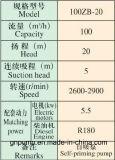 pompe à eau agricole de quatre pouces de grande capacité de la série 100zb 100zb-20