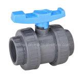 Doppia valvola a sfera di plastica del sindacato per irrigazione con ISO9001 (NPT)