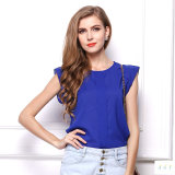 レディース夏の軽くて柔らかいブラウスまたはワイシャツの新しい方法ひだの不足分の袖4カラー