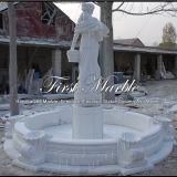 Fontaine en pierre de marbre Mf-612 de Carrare de blanc de jardin de granit