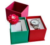 Rectángulo de almacenaje de cuero de papel de la visualización del embalaje del reloj (YS396)