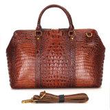 Мешок Duffle печати Brown Croc реальный кожаный для перемещать викэнда
