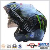 二重バイザー(LP508)が付いているオートバイのヘルメットの上のフリップ