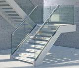 Escalera de los pasos de progresión del vidrio de la barandilla/del pasamano del acero inoxidable del diseño moderno