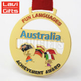 Zoll Ihre Selbst Entwurfs-Ehrenmetallgoldsport-Medaillon-Medaille mit Ehrenbuntem rotem Farbband
