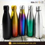 2017 botella de agua de encargo del acero inoxidable de la insignia 350ml 500ml
