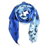 Damen arbeiten gedruckter Polyester-Feder Kunstseide-Schal um